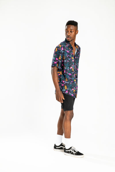 men's short sleeve party shirt by Poolside Party Shirts with tropical jungle textile print full length view