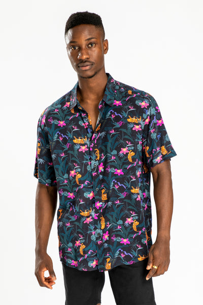 men's short sleeve party shirt by Poolside Party Shirts with tropical jungle textile print front view
