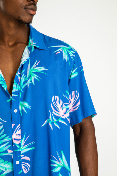 men's short sleeve party shirt by Poolside Party Shirts with blue tropical textile print detail view