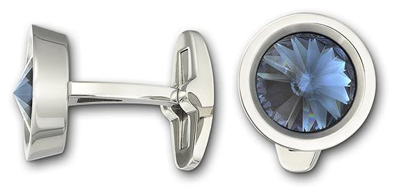 Round Cuff Links, Blue, Stainless steel