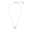 Swan Necklace, White, Rhodium plated