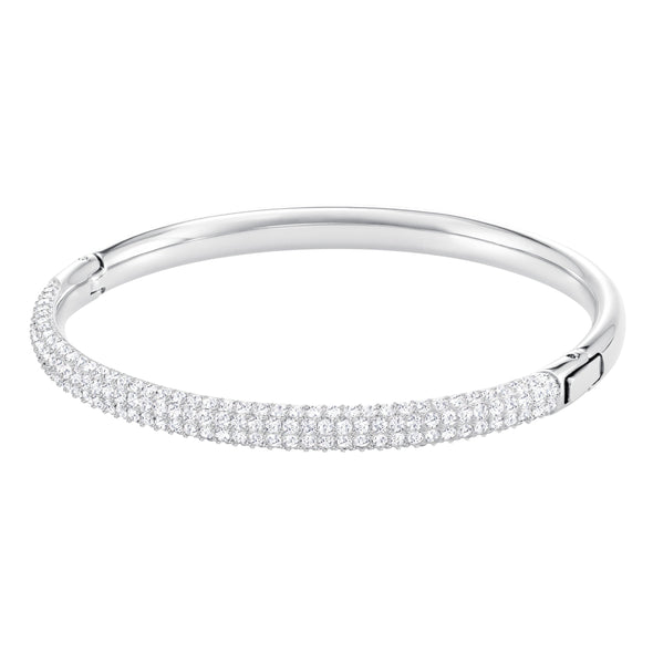 Stone Bangle, White, Rhodium plated