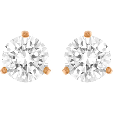 Solitaire Pierced Earrings, White, Rose-gold tone plated