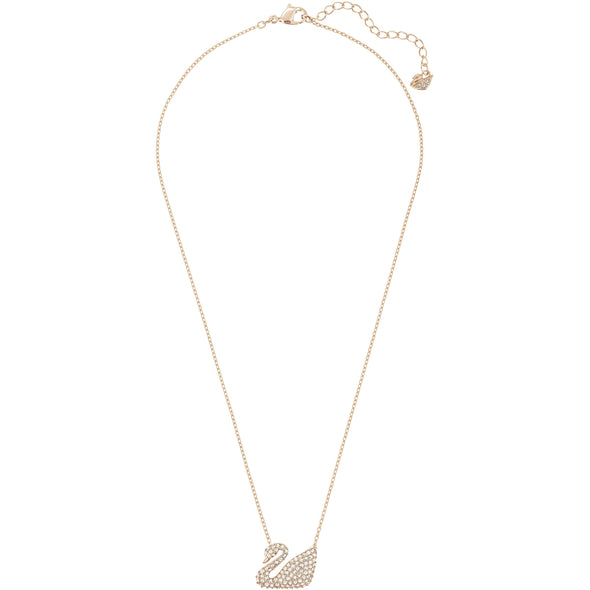 Swan Necklace, White, Rose-gold tone plated