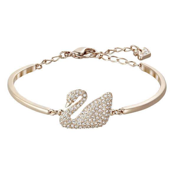 Swan Bangle, White, Rose-gold tone plated