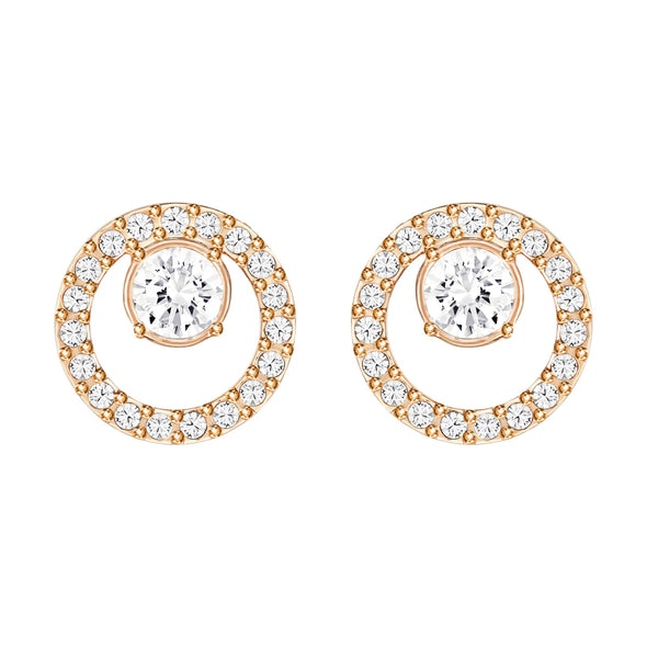 Creativity Circle Pierced Earrings, White, Rose-gold tone plated