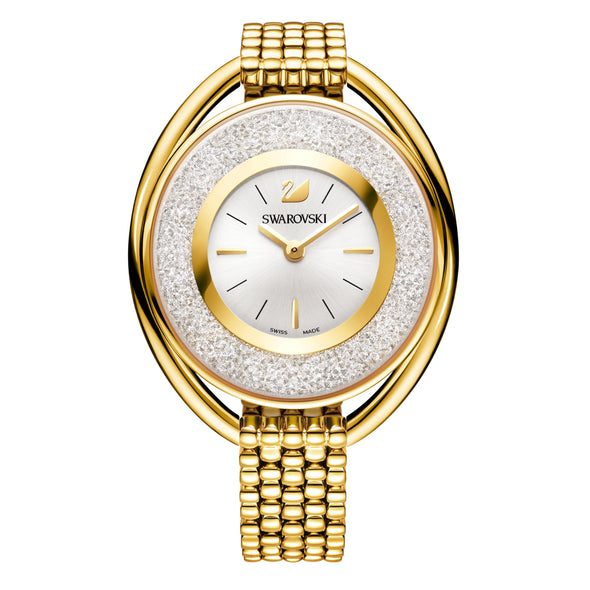 Crystalline Oval Watch, Metal bracelet, White, Gold-tone PVD