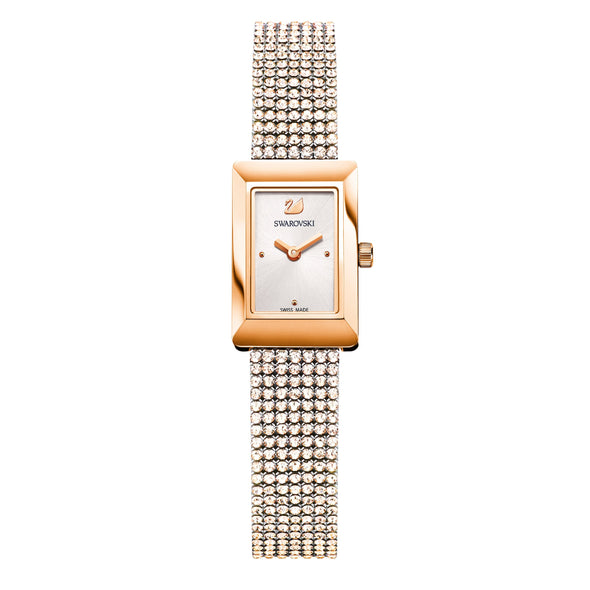 Memories Watch, Crystal Mesh strap, White, Rose-gold tone PVD