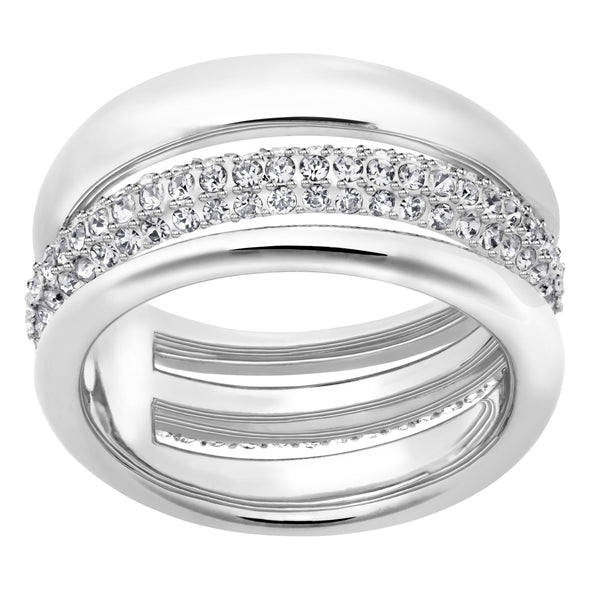 Exact Ring, White, Rhodium plated