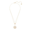 Ginger Layered Pendant, White, Rose-gold tone plated