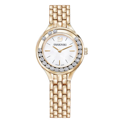 Lovely Crystals Watch, Metal bracelet, Rose-gold tone PVD