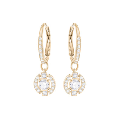 Swarovski Sparkling Dance Round Pierced Earrings, White, Rose-gold tone plated