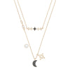 Swarovski Symbolic Moon Necklace Set, Multi-colored, Mixed metal finish