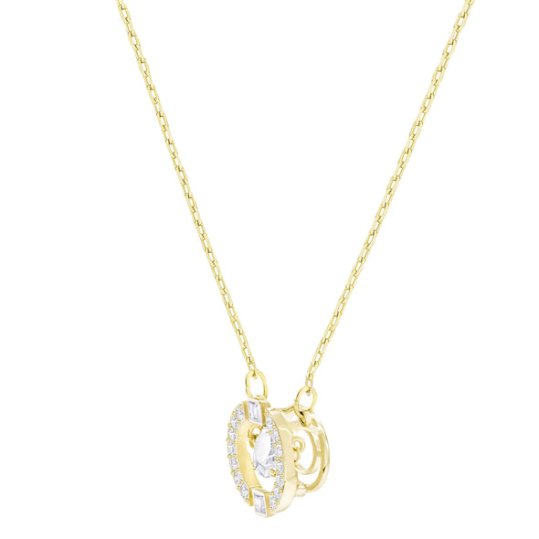 Swarovski Sparkling Dance Round Necklace, White, Gold-tone plated
