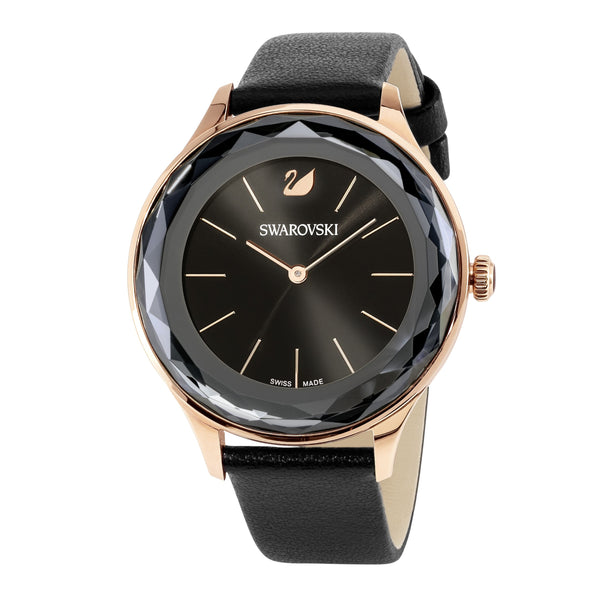 Octea Nova Watch, Leather strap, Black, Rose-gold tone PVD