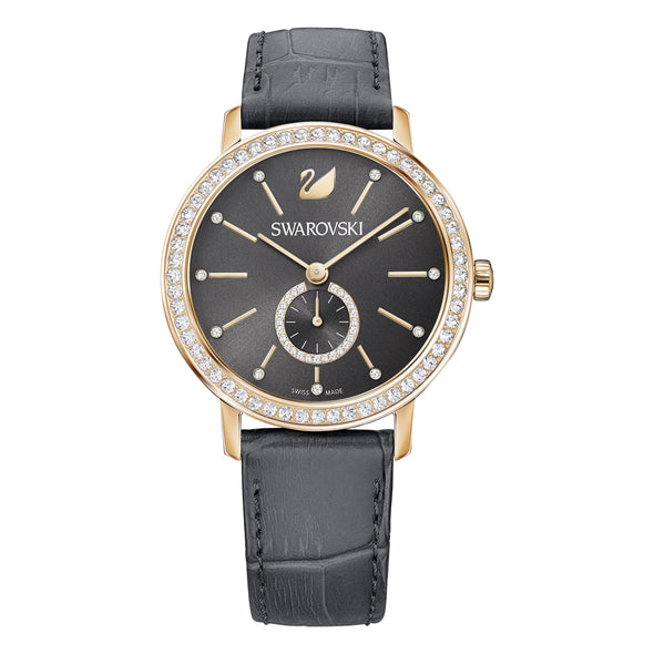 Graceful Lady Watch, Leather strap, Gray, Rose-gold tone PVD