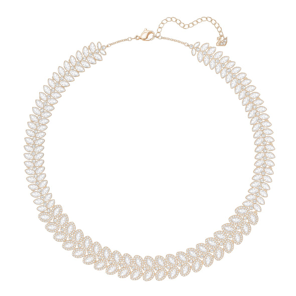 Baron Necklace, White, Rose-gold tone plated