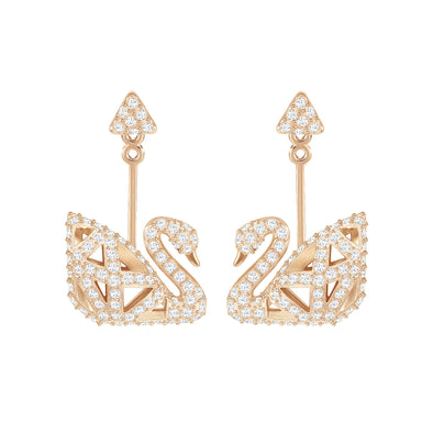 Facet Swan Pierced Earrings, White, Rose-gold tone plated