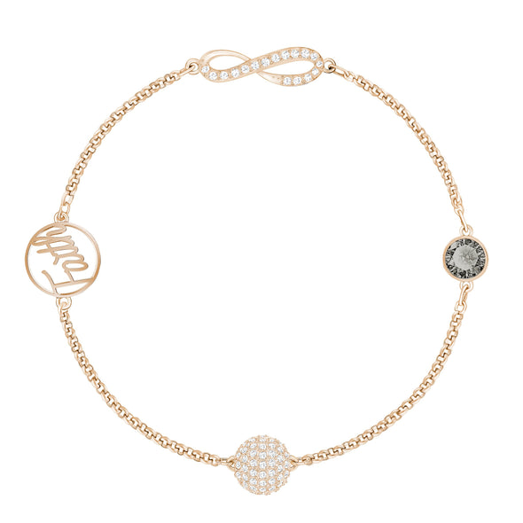 Swarovski Remix Collection Infinity Strand, Black, Rose-gold tone plated