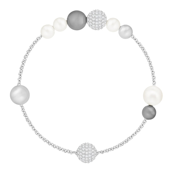Swarovski Remix Collection Pearl Strand, Gray, Rhodium plated