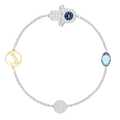 Swarovski Remix Collection Hamsa Hand Strand, Blue, Mixed metal finish