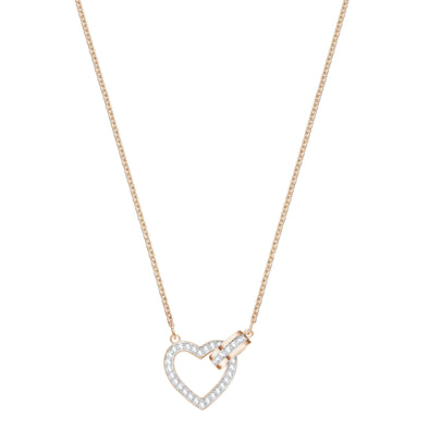 Lovely Necklace, White, Rose-gold tone plated