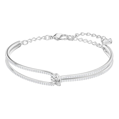 Lifelong Bangle, White, Rhodium plated
