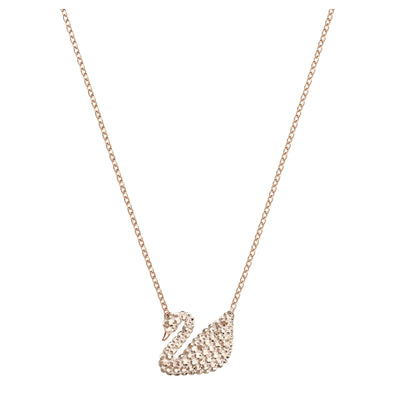 Swarovski Iconic Swan Pendant, White, Rose-gold tone plated