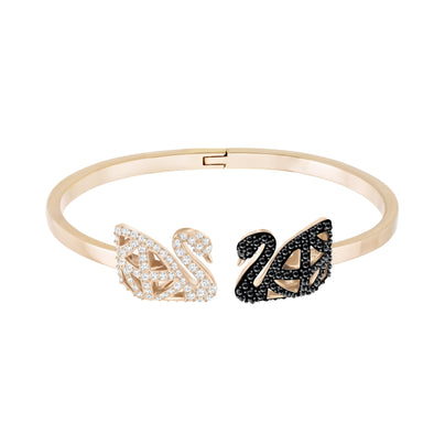 Facet Swan Bangle, Multi-colored, Mixed metal finish