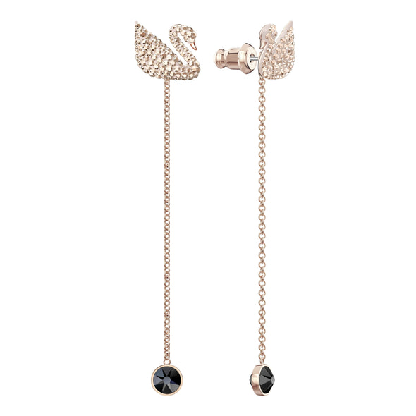 Swarovski Iconic Swan Pierced Earrings, Brown, Rose-gold tone plated