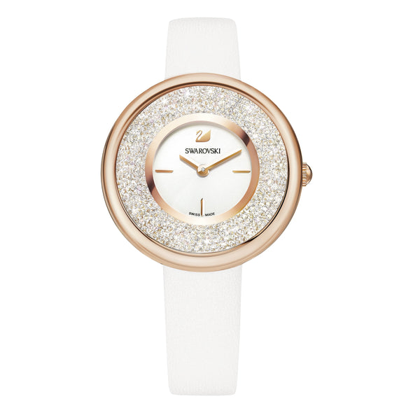Crystalline Pure Watch, Leather strap, White, Rose-gold tone PVD