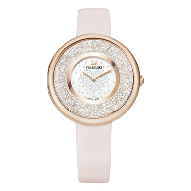 Crystalline Pure Watch, Leather strap, Pink, Rose-gold tone PVD