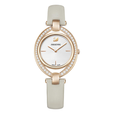 Stella Watch, Leather strap, Gray, Rose-gold tone PVD