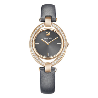 Stella Watch, Leather strap, Dark gray, Rose-gold tone PVD