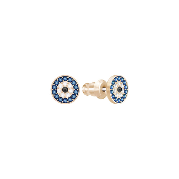 Luckily Evil Eye Pierced Earrings, Multi-colored, Rose-gold tone plated