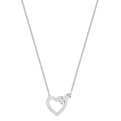 Lovely Necklace, White, Rhodium plated