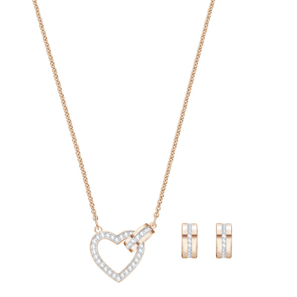 Lovely Set, White, Rose-gold tone plated
