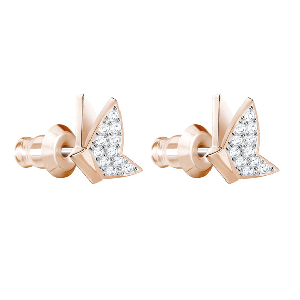 Lilia Pierced Earrings, White, Rose-gold tone plated