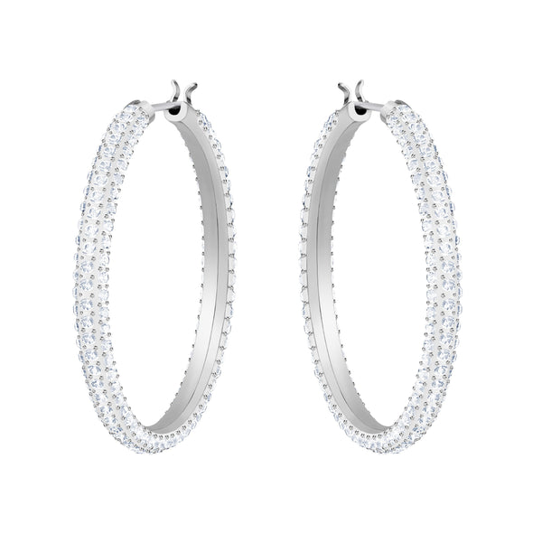 Stone Hoop Pierced Earrings, White, Rhodium plated
