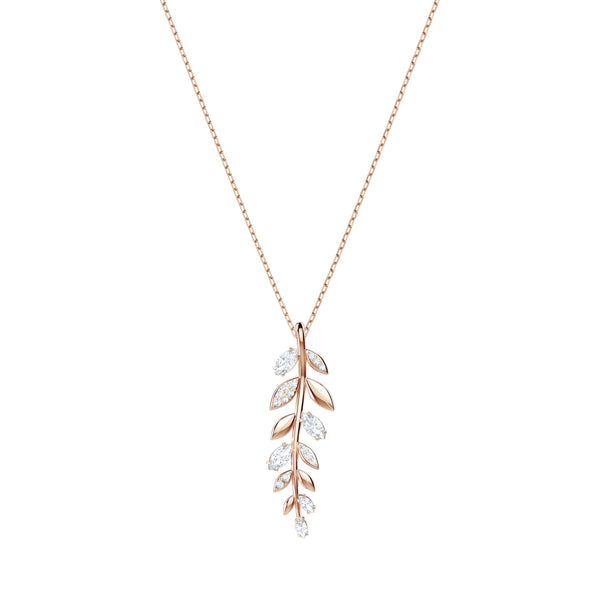 Mayfly Pendant, White, Rose-gold tone plated