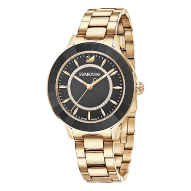 Octea Lux Watch, Metal bracelet, Black, Rose-gold tone PVD