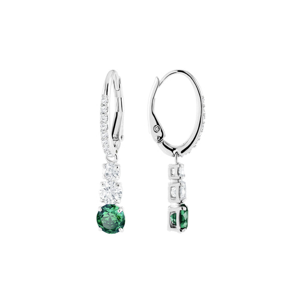 Attract Trilogy Round Pierced Earrings, Green, Rhodium plated