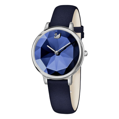 Crystal Lake Watch, Leather strap, Blue, Stainless steel