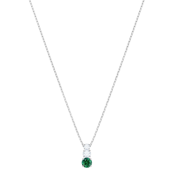 Attract Trilogy Round Pendant, Green, Rhodium plated