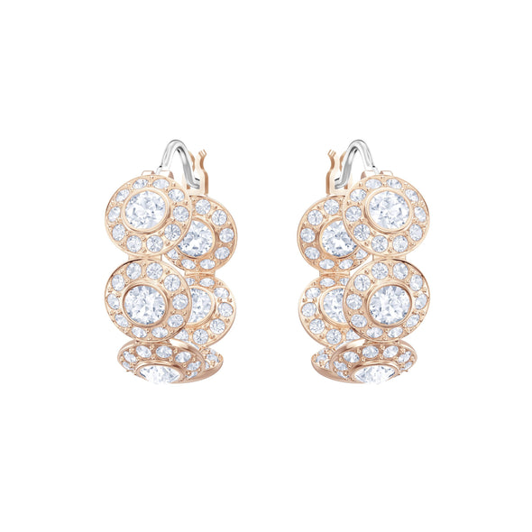 Angelic Hoop Pierced Earrings, White, Rose-gold tone plated