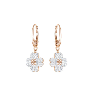 Latisha Pierced Earrings, White, Rose-gold tone plated