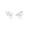 Louison Pearl Pierced Earrings, White, Rhodium plated