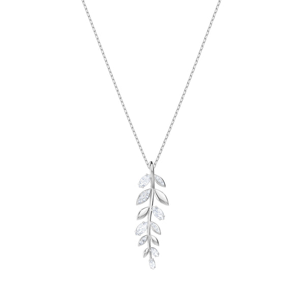 Mayfly Pendant, White, Rhodium plated
