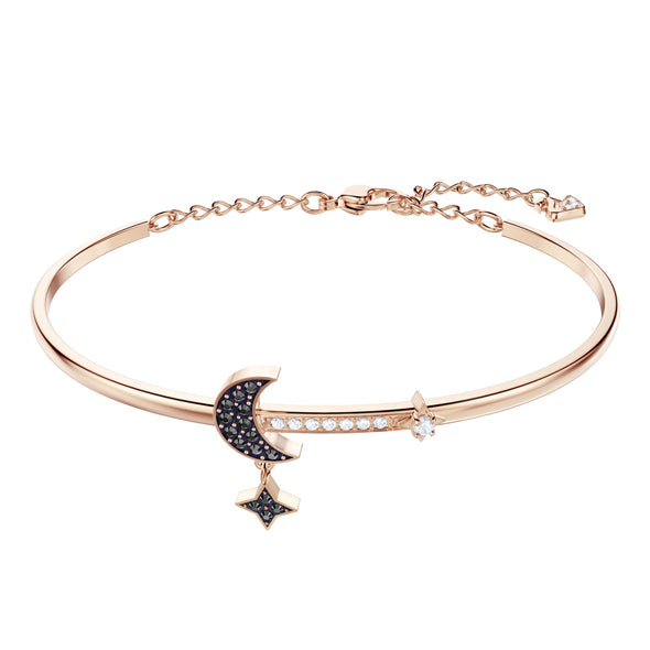 Swarovski Symbolic Moon Bangle, Black, Rose-gold tone plated