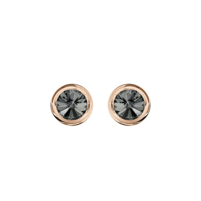 Round Cuff Links, Gray, Rose-gold tone plated